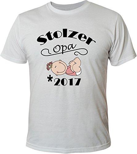Mister Merchandise Herren Men T-Shirt Stolzer Opa - 2017 Tee Shirt bedruckt Weiß