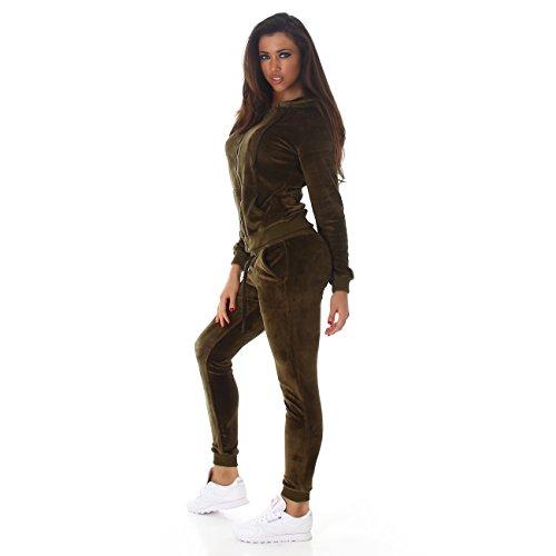 Jela London - Damen Velours- Wellnessanzug I Hausanzug I Jogginganzug mit Kapuze und Kordelzug Samtig S-M-L in 8 Farben Brit Green