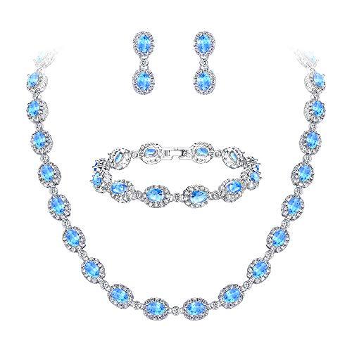 Ever Faith Damen CZ Hochzeit Braut Oval Teardrop Halskette Ohrringe Armband Set Hellblau Silber-Ton