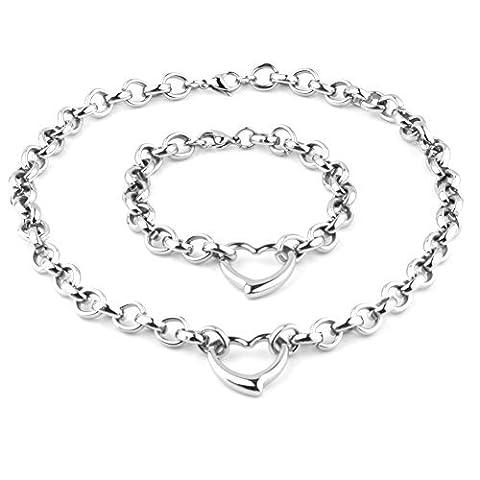 Womens Girls Stainless Steel Silver Handmade Charm Love Heart Bracelet Necklace Jewelry Set by Loveshine