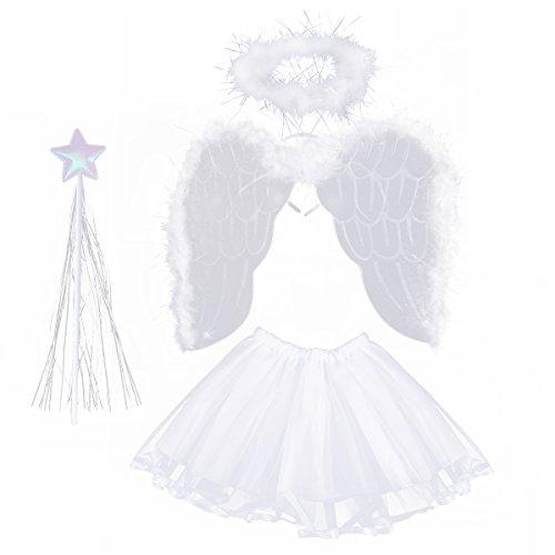 luoem Angel Mädchen 3-8Jahre Kostüm Flügel von Angel Zauberstab Kopfband Halo Angel und Tutu Rock aus weiß - Flügel Und Halo Kostüm