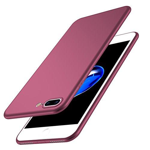 Iphone 7 Ultra-Dünn 0.5mm Matt Hülle + Gehärtetes Glas,SUNAVY 360-Grad Anti-stoß Anti-Kratzer Leichte Weich HandyMatte Hülle TPU SchutzMatte Hülle für Apple7,4.7zoll,WineRot WineRot
