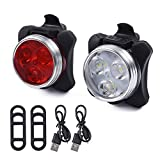 DKINs LED Fahrradlicht Set,USB Wiederaufladbare Fahrradleuchte, LED Weißlicht and Rotlicht 800mAh Wasserdicht & Staubdicht (Schwarz)