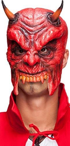 Fancy Me Herren Damen Klassisch Halloween 3/4 Gesicht Latex Hexe Devil Vampir Monster Mumie Wolf Horror Maskenkostüm Masken - Devil, One ()