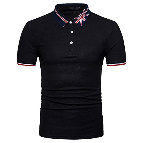 Ulanda-EU Mens T-Shirts Summer Short Sleeve Business Polo Tops Casual Regular Fit Cotton Printed Polo Blouse for Men Shirts Clothes Clearance
