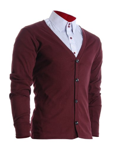 FLATSEVEN Herren Slim Fit Stilvolle Button Up Strickjacke (C100) Wein, M