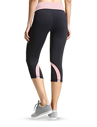 Baleaf Damen Capri Leggings 3/4 Yogahose Yoga Workout Laufen Pink
