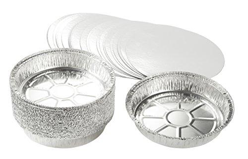 Folien-kochen-pfannen (juvale Aluminium Folie Pfannen–25-teilig rund Einweg Dose Pfannen mit Flach Board Deckel für Backen, Rösten, broiling, und Kochen, 22,9x 4,1x 22,9cm)