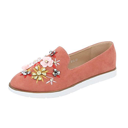 Scarpe da donna Mocassini piatto Slipper Ital-Design Rosa