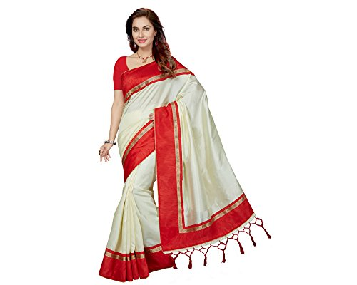 Ishin Art Silk White & Red Party Wear Wedding Wear casual Daily Wear Festive Wear Bollywood New Collection Woven Zari Border Latest Design Trendy Women\'s Saree With Tussel/Kutch