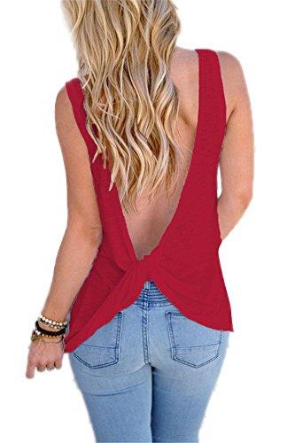 Femme Gilet Débaradeur Été en V profond dos nu Blouse Sans Manches Gilet de T-shirt Rouge