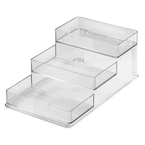 InterDesign Linus Schrank Organizer, mittelgroßes Küchenregal mit 3 Ebenen aus Kunststoff, durchsichtig