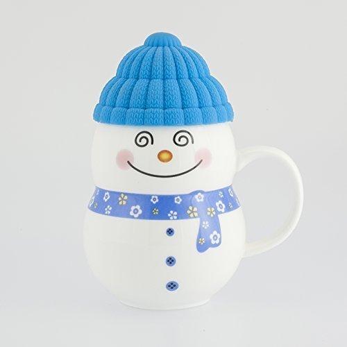 (groß 300ml Schneemann Keramik Weihnachten Tee Kaffee Tasse mit Wollmütze in Geschenkschachtel - Blau)