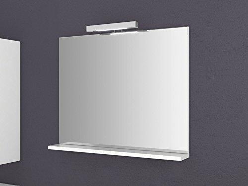 Spiegel mit Ablage Girona 60 und 80 cm breit Beleuchtung Wandspiegel Badspiegel weiß Sieper (80)
