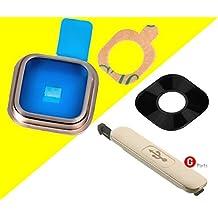 Premium ✅ Cámara Lente de Cubierta Set para Samsung Galaxy S5SM-G900F (Oro)–Cámara Lente Cristal marco con tiras adhesivas integrado + USB puerto de carga protectora tapa–Oro–Nuevo