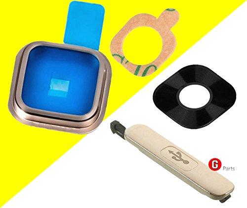 Premium✅ Kameralinse Objektiv Abdeckungsset für Samsung Galaxy S5 SM-G900F (GOLD) - Kameralinse Glas Rahmen mit integriertem Klebestreifen + USB Ladebuchse Abdeckung Kappe - GOLD - NEU