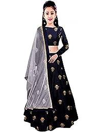 Fashionable_village Girl's Taffeta Silk maroon colour Semi-Stitched girl's Lehenga Choli for 10-15 Year Girls