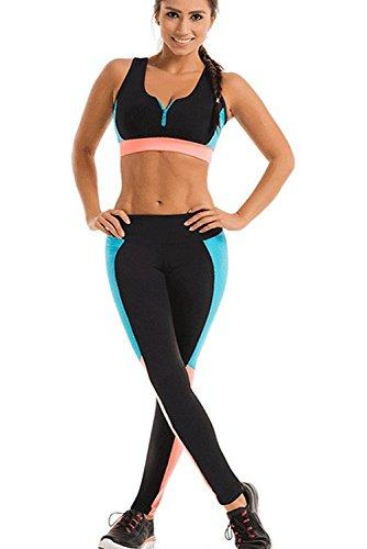 Mallas Leggins Deportivo Top Sujetador Relleno Mujer Conjuntos para Fitness Running Yoga
