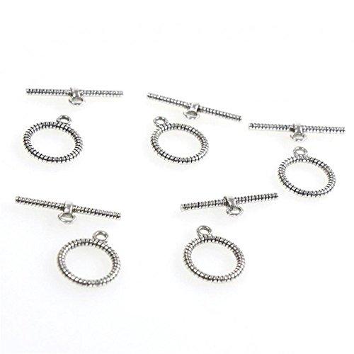 Einem Schalter, 10 Stück, zur Schmuckherstellung Kupfer Antik Verschluss: Karabinerverschluss Halskette Armband, grau