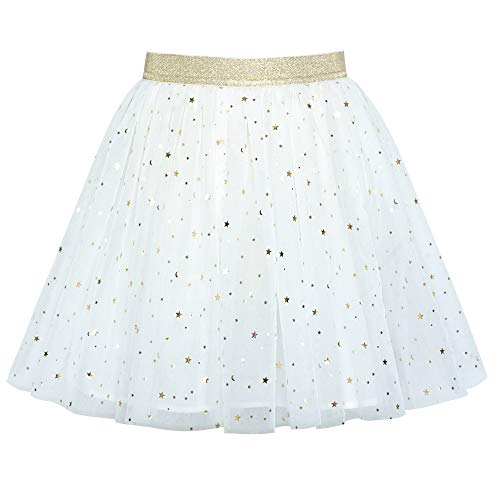 Mädchen Rock Aus Weiß Funkelnd Gold Stern Mond Tutu Tanzen Gr. 128-134