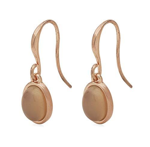Dede 161844113 - orecchini pendenti placcati in oro rosa, con pietra di agata grigia ovale pilgrim