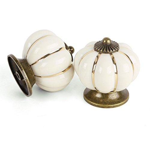 2x cerámica Vintage gabinete cajón pomo puerta asa, color blanco