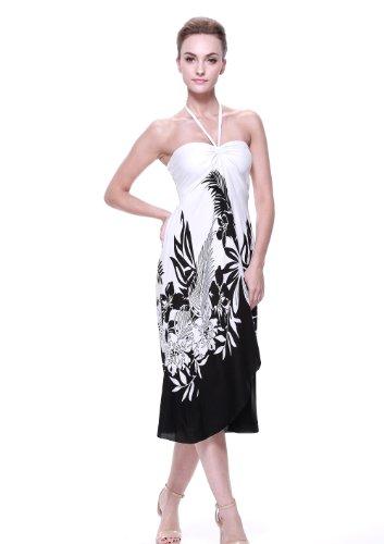 Robe de mariée hawaïenne pour femme en Floral Edge Blanc Noir Indri Black