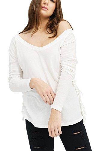 trueprodigy Casual Damen Marken Long Sleeve Einfarbig Basic, Oberteil Cool und Stylisch mit V-Ausschnitt (Langarm & Slim Fit), Langarmshirt für Frauen in Farbe: Weiß 1182501-2000-M