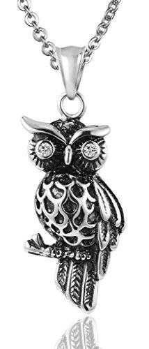 Beydodo Edelstahl Kette mit Anhänger Herren Silber Schwarz Eule Vogel Weiß Zirkonia Halskette Partnerkette Freundschaftskette für 1 ()