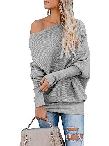 Pommaxe Oversize Pullover Damen Off Shoulder Loose Fledermausärmel Sweatshirt Casual Strick Oberteile T-Shirt