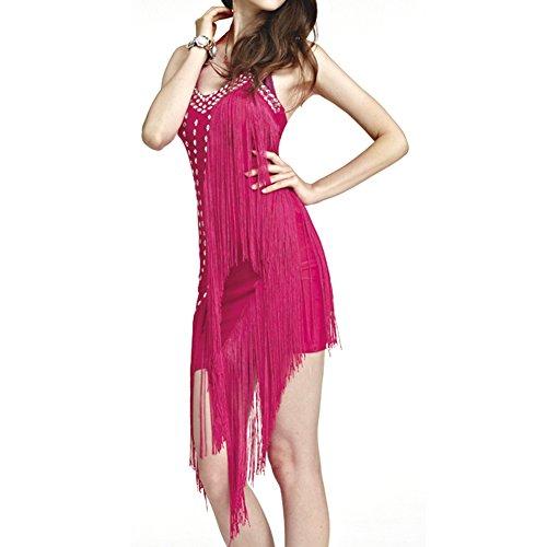 Etopfashion Damen Backless Latin Salsa Tango Ballroom Wettbewerb Tassels (Kostüm Flapper Mädchen Tanz)