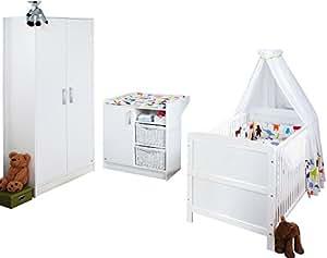 Pinolino Kinderzimmer Viktoria, 3-teilig, Kinderbett (140 x 70 cm), Wickelkommode mit Wickelansatz und Kleiderschrank, weiß (Art.-Nr. 10 00 22)