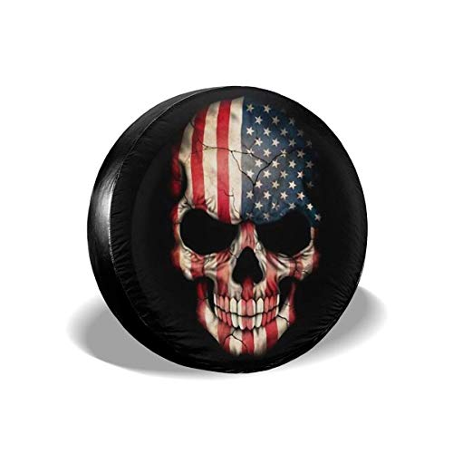 Vbnbvn Reserveradabdeckung, American Honourable Flag Skull Polyester Universal Spare Wheel Tire Cover Wheel Covers for Jeep Trailer RV SUV Truck Camper Travel Trailer Accessories(14,15,16,17 Inch)