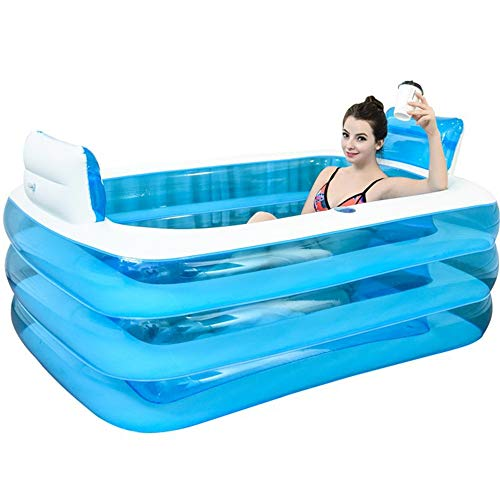JFJL Aufblasbare Tragbare Badewanne, Blau-Weiße, Haltbare Badewanne Mit Großer Rückenlehne, Freistehendes Aufblasbares Poolbadezimmer, 160X120x60 cm