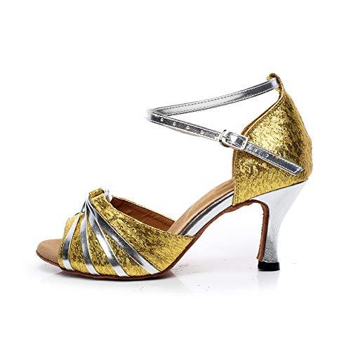 WHL.LL Des Femmes Bouche Poisson Correspondance Des Couleurs Chaussures Danse Latine La Mode Paillettes Noeud Papillon Talon Haut Chaussures Danse Fond Mou (Hauteur Du Talon: 7.5Cm)