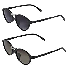 Vast Combo Pack Of 2 UV Protection Double SHADED Retro Round Unisex Sunglasses (BLK_GREEN)