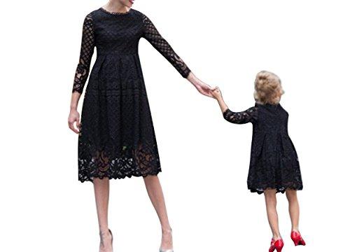 Minetom Mama und Mädchen Frühjahr Sommer Kleider Kleidung Mode Elegant Lace Kleidung 3/4-Arm Knielang mit Familie Freizeitkleidung Beiläufig Dress Schwarz DE 36 (Mama Pinguin)