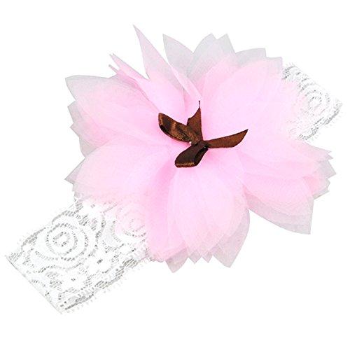 TOOGOO(R) Enfants Bebe Fille Bandeau Serre-tete Mariage Elastique Volants Fleur Noeud Souple - rose
