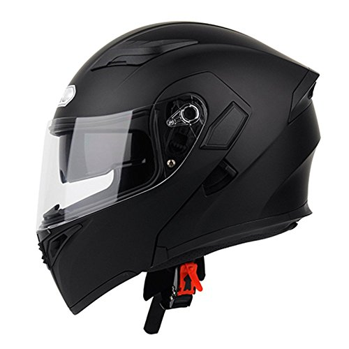 Männer Motorrad Helm Erwachsene Anti-Fog Bluetooth Headset Sicherheit Helm,Black-XXL=62-63cm