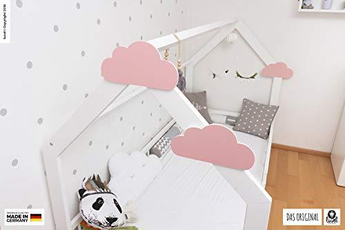 luvel (M6) – 3er Set XXL Wolken mit 3D-Effekt als Kinderzimmer Deko Wandtattoo Kinderzimmer 30×15 cm 5mm Kunststoff (rosa) - 4