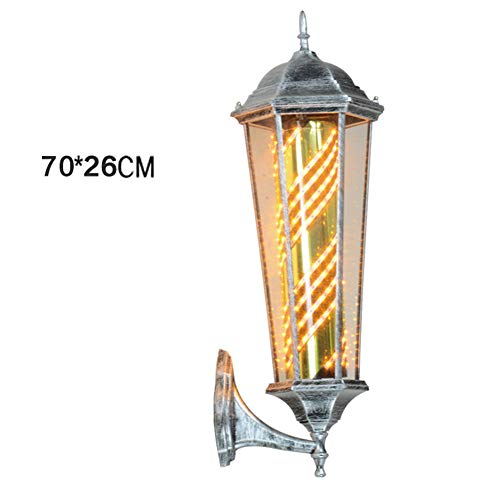 JIEC22 Luz de señal de Giro del salón de peluquería- Barbería Poste Giratorio e Iluminado con lámpara Superior para peluquería Letrero de salón Pintura de Alta Temperatura Vidrio Transparente