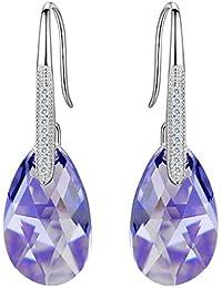 e7232a88b903 Clearine Mujer 925 de Plata Boda Nupcial CZ Lágrima Hook Dangle Pendientes  Adornado Con Cristales de