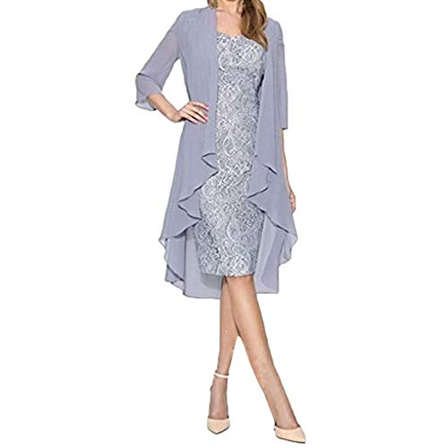 TOPSELD Dress Wedding Guest Dress v Neck Summer Dress for Women Dress Curvy Dress lace Dress for Women Dress for Damen - Silber Maxi-kleid Glanz