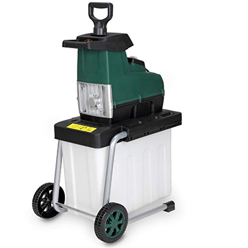 Gardebruk elektrischer Leisehäcksler 2800 W max. 45 mm Astdicke 60L Auffangbox Gartenhäcksler Walzenhäcksler Schredder Häcksler