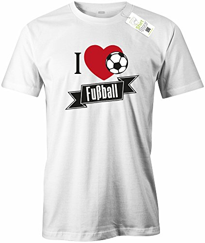 I LOVE FUSSBALL - BALL - HERREN - T-SHIRT Weiß