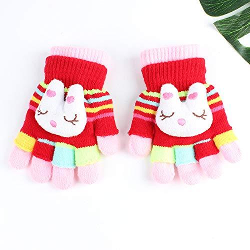 Q_stzp guanti guanti di i guanti gloves guanti da muffola guanti per bambini guanti a doppio uso per bambini finger cartoon carino maglia di lana ragazzi e ragazze baby warm, bunny, taglia unica