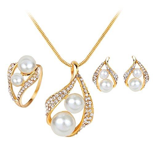 Joyería Set Pendientes Anillo Collar Cristal Perlas de Imitación Decoración Banquete Boda Color Oro Caliente