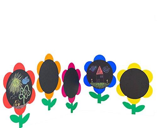 Kreide-Tafel Blumen Indoor und Outdoor, Ø ca. 59 cm, 5er Set - Kinder-Maltafel Schreibtafel Kindertafel Kindergarten Krippe Garten