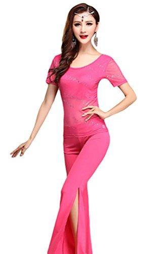 YiJee Damen Pailletten Gaze Tanzkleidung Kostüm Set Bauchtanz Tops Pants Set Rose M (Tanz Kostüme Mieten)