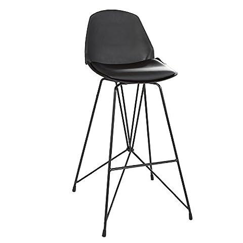 SoBuy® FST44-Sch Tabouret de bar cuisine fauteuil bistrot avec dossier et repose-pieds haute qualité -Noir